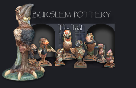 The court room range of grotesque birds from Burslem pottery.