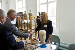 Tracy Bentley meeting HRH Prince Charles at the Burslem pottery demonstration event.